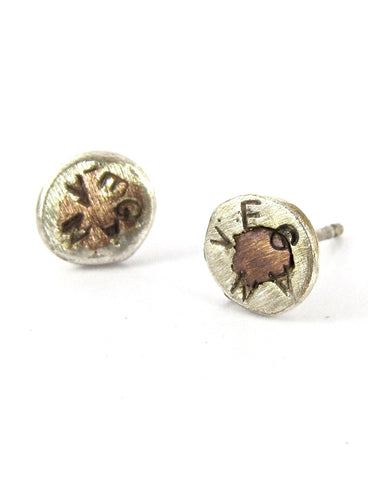 handmade silver/copper Vegan Love studs