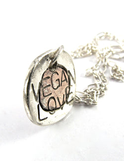 handmade silver/copper Vegan Love necklace