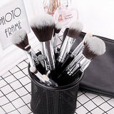 Premium Synthetic Goat Hair Kabuki Brushes with Cosmetic Bag (15 Piece)