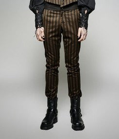Steampunk Victorian Striped Pants Brown Black  - Hamika Gothic Fashions