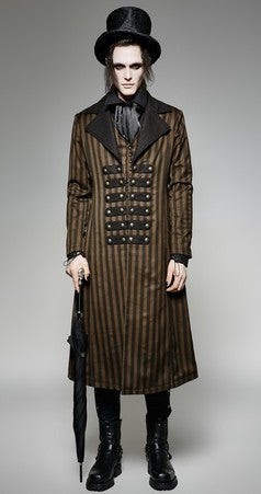 Steampunk Victorian Long Striped Coat Brown Black  - Hamika Gothic Fashions