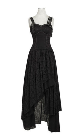 Steampunk Asymmetric Hem Lace Dress Black