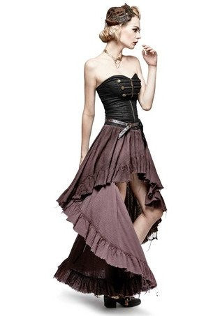 Steampunk High Low Strapless Dress Black Brown