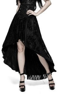 Gothic Flowers Decadent High Low Skirt Black
