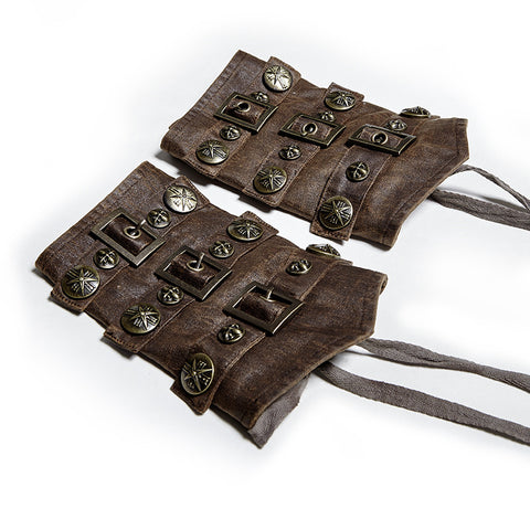 Steampunk Faux Leather Bracers Brown  - Hamika Gothic Fashions