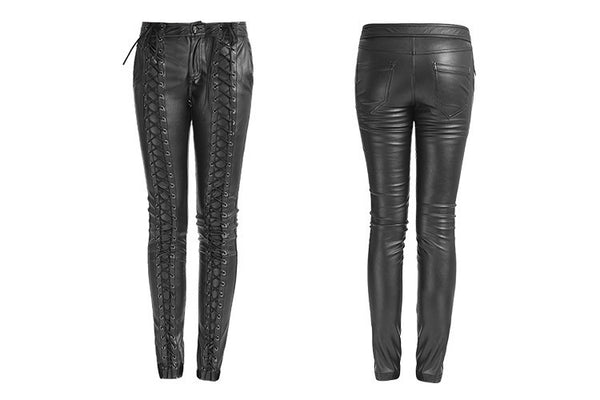 Gothic Lace-Up Leather Skinny Pant Black  - Hamika Gothic Fashions