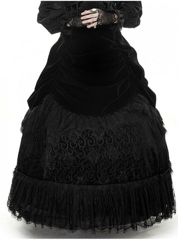 Gothic Palace Lace Detail Long Skirt Black  - Hamika Gothic Fashions