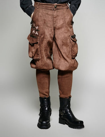 Steampunk Wide Top Trouser Brown  - Hamika Gothic Fashions