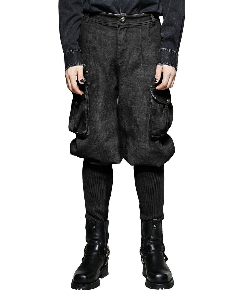 Steampunk Wide Top Trouser Black  - Hamika Gothic Fashions