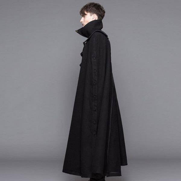 Gothic Extra Long Dust Coat with a Detachable Cape Black  - Hamika Gothic Fashions