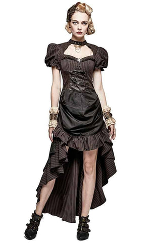 Steampunk Gear Detail Striped Dress Brown