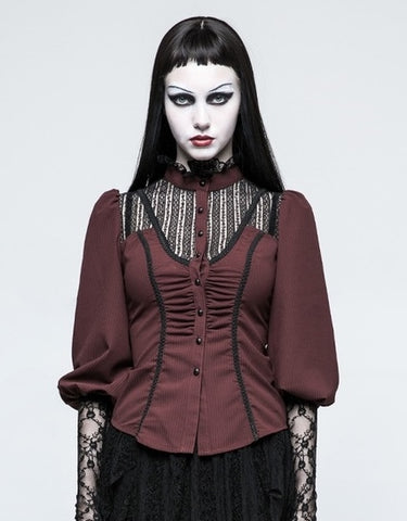Gothic Mandarin Collar Lace Puff Sleeve Blouse Red  - Hamika Gothic Fashions