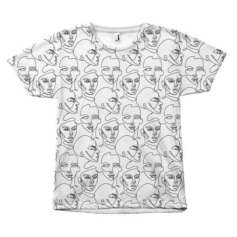 One line art Faces shirt by Egoteest