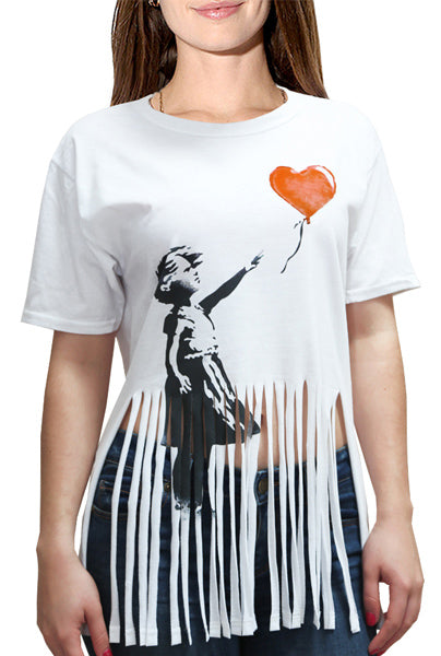 Banksy Girl with a Baloon Shreded Shirt by Egoteest