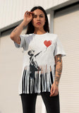 Banksy Girl with a Baloon Shreded T-shirt by Egoteest