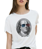 Cool Ben Franklin's Wearing USA Flag Sunglasses Portrait Patriotic T-shirt by Egoteest