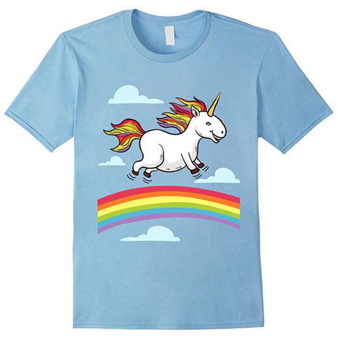 Egoteest: Cool Cartoon Unicorn Dancing on Rainbows T-shirt, for Men, Women, Kids