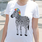 Egoteest: Zebra with Rainbow Mane Tshirt for Women