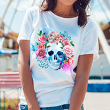 Egoteest: Skull and Flowers Stylish Fashion Tshirt