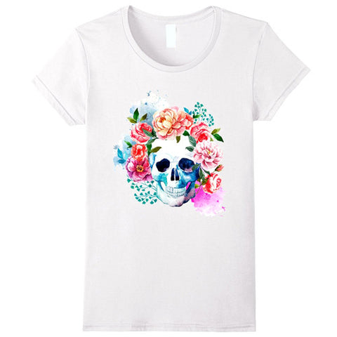 Egoteest: Skull Surrounded by Flowers Fashion T-shirt