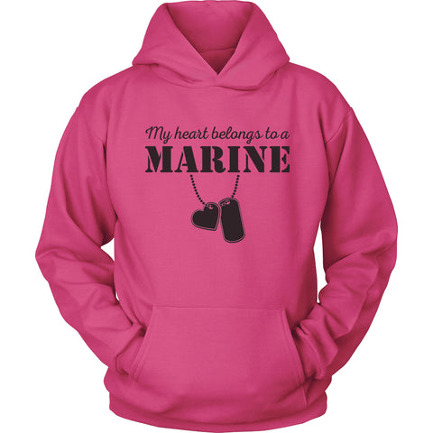 Egoteest, USMC Hoodie, My Heart Belongs to a Marine, Marine Corps USMC Girlfriend Hoodie, US Army Girlfriend Shirt, I Love a Marine