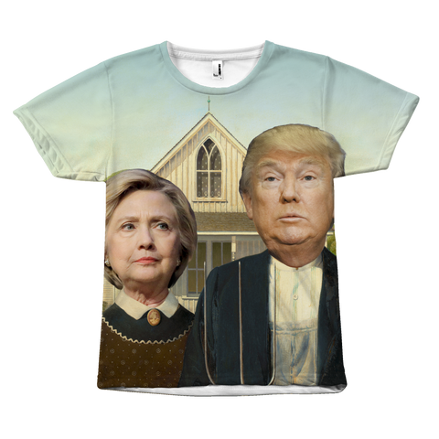 Hillary Clinton and Donald Trump - American Gothic Shirt by Egoteest