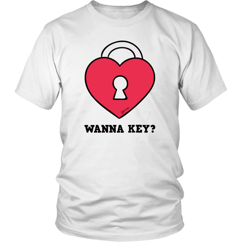 Egoteest: Heart Lock, Wanna Key? Romantic Graphic Communicational T-shirt