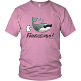 Fartissimo! Farting Whale T-shirt. Unisex up to 5XL