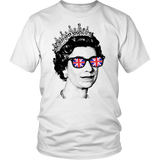 Cool Queen Elizabeth wearing sunglasses UK flag T-shirt by Egoteest