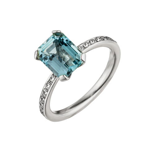 Statement Ring Aquamarin mit Brillanten