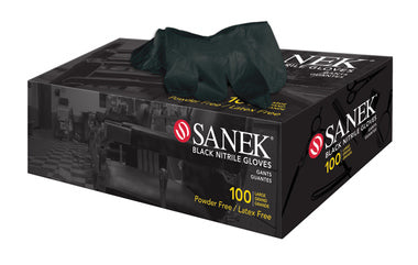SANEK BLACK NITRILE GLOVES - 100pk