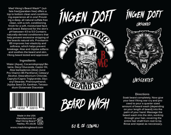 Mad Viking Ingen Doft Beard Wash