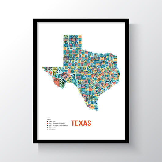 Texas Typography Art Print