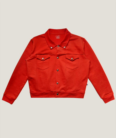 Bright Red Jersey Jacket ADULT- 100% Organic Pima Cotton - Granelito