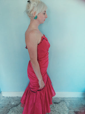 Vintage 80s ruffle Hot pink Dress
