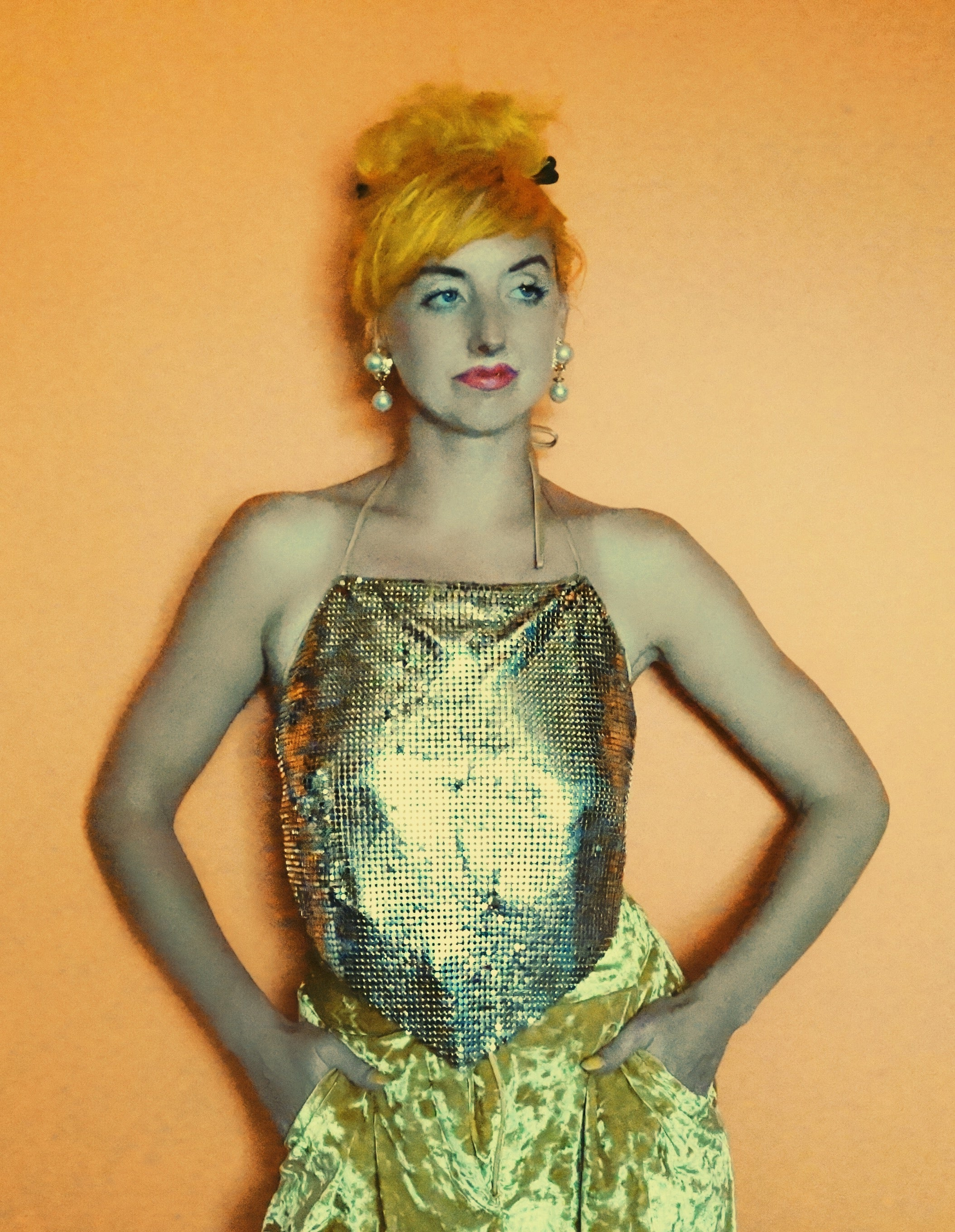 Gold chainmail disco vintage 90s nineties party festival top