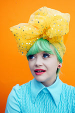 Yellow sequin Bow Turban