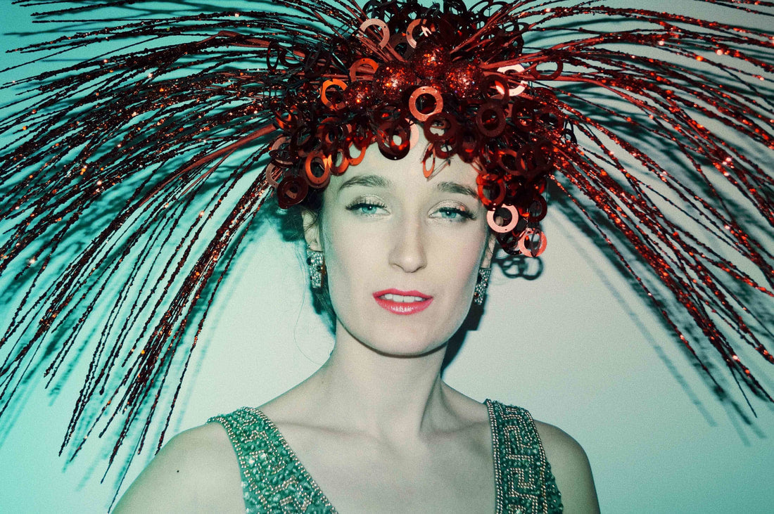Red Spray Headdress - Fascinator - Costume