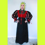 Vintage peasant medieval Puff sleeve corset dress small