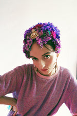 Vintage flowerbud skullcap purple headpiece bonnet