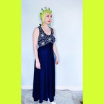 Vintage 70s Navy and White stitched flower maxi Dress