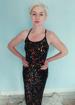 Sparkly Sequin black Dress - size 8 - festival - party - cosmic