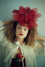Red Flower headdress- frida - flower crown