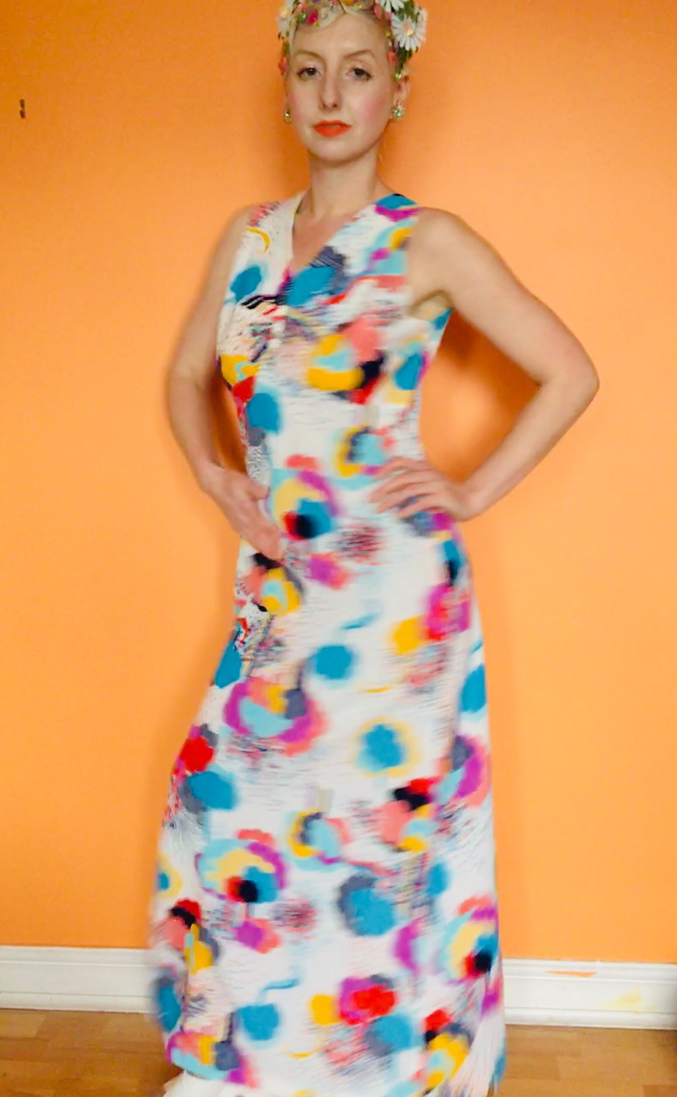 Vintage Multicoloured Maxi Dress.