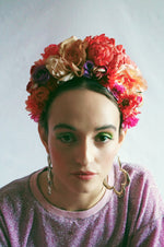 Floral Frida pinks and peaches headdress