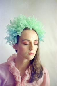Green Vintage inspired ruffle Pastel Headpiece
