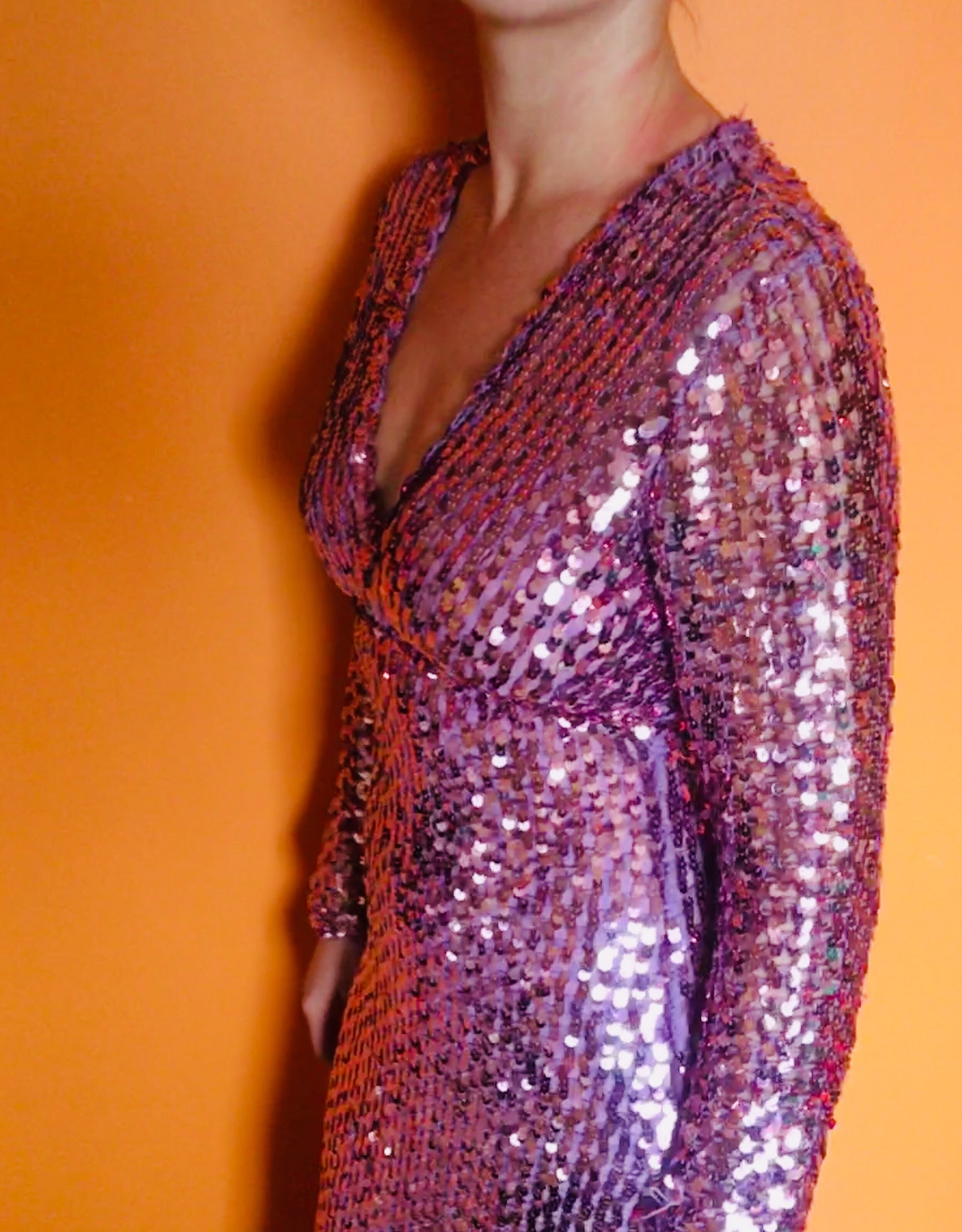 Vintage Pink 70s Crochet Sequin Dress