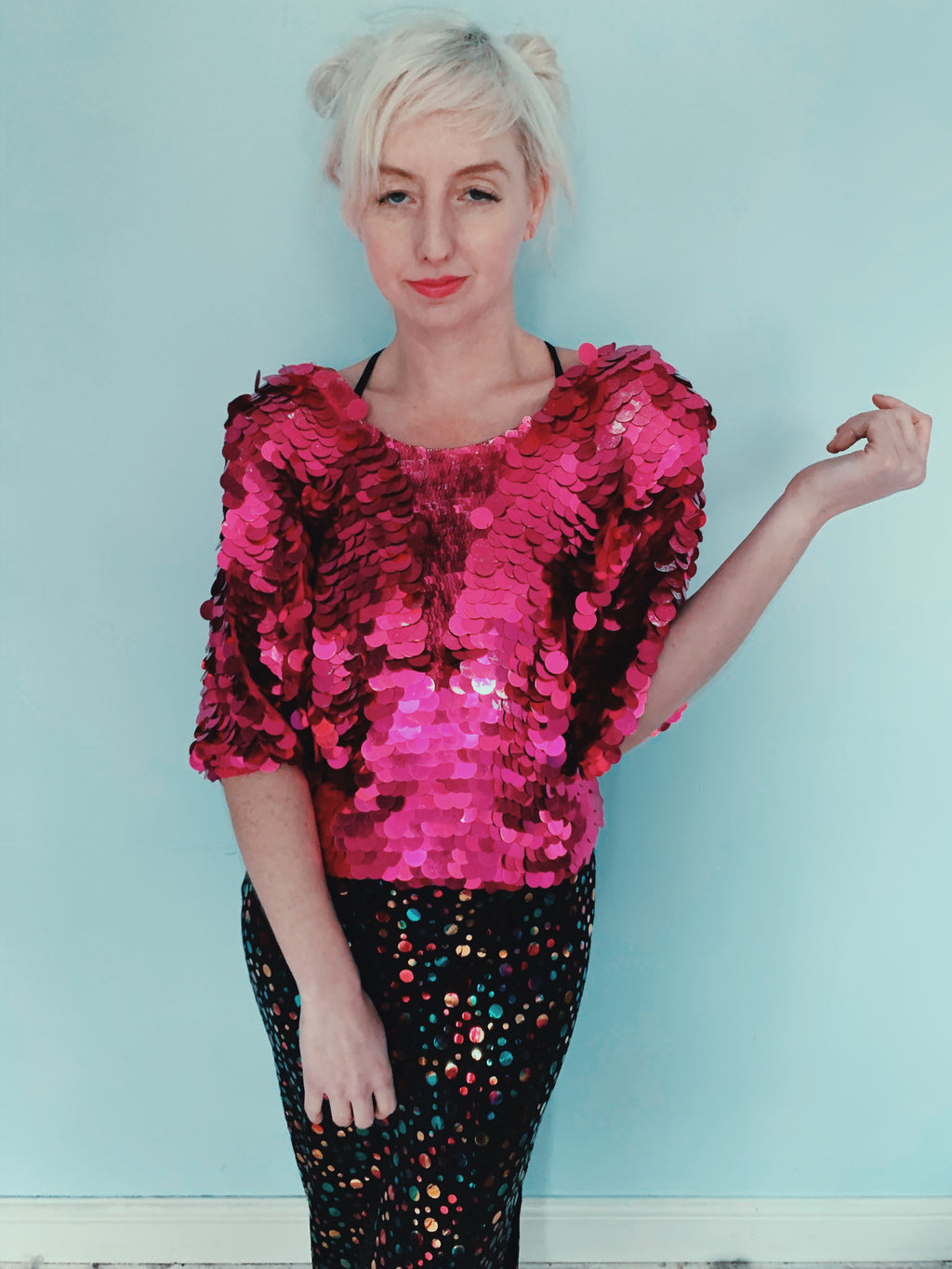 Hot pink Sequin Vintage Top - size small - medium
