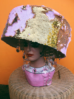 Giant pink and gold Sequin and Crystal Hat / Headpiece