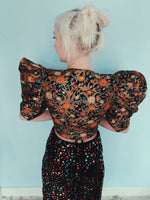 80s brocade puff sleeve balloon sleeve jacket